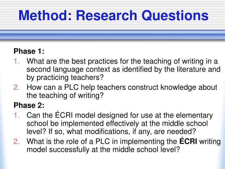Method: Research Questions