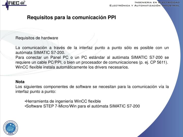 Requisitos para la comunicación PPI