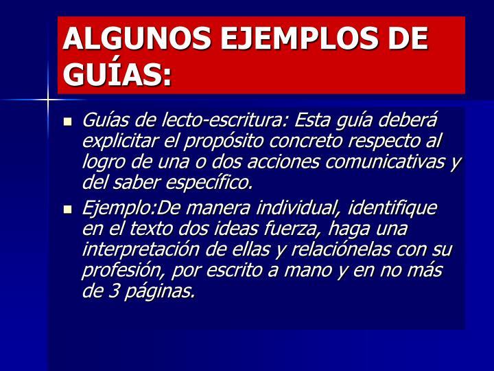 ALGUNOS EJEMPLOS DE GUÍAS: