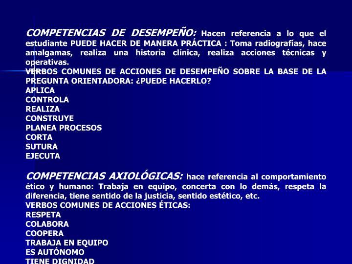 COMPETENCIAS DE DESEMPEÑO: