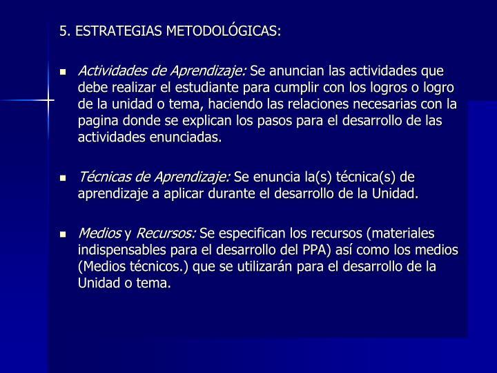 5. ESTRATEGIAS METODOLÓGICAS: