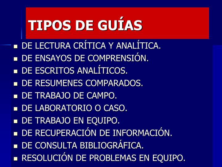 TIPOS DE GUÍAS