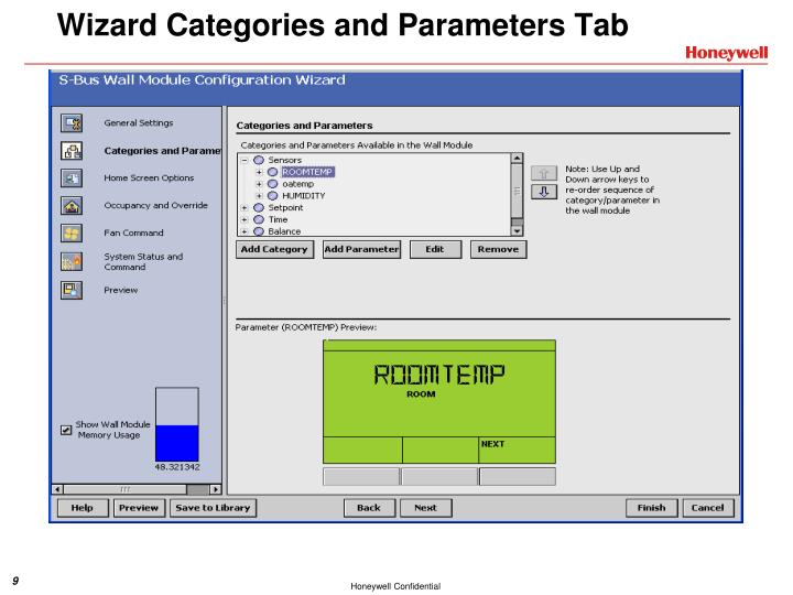 Wizard Categories and Parameters Tab