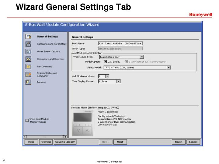 Wizard General Settings Tab