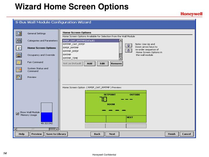 Wizard Home Screen Options