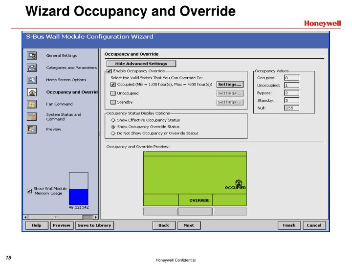 Wizard Occupancy and Override