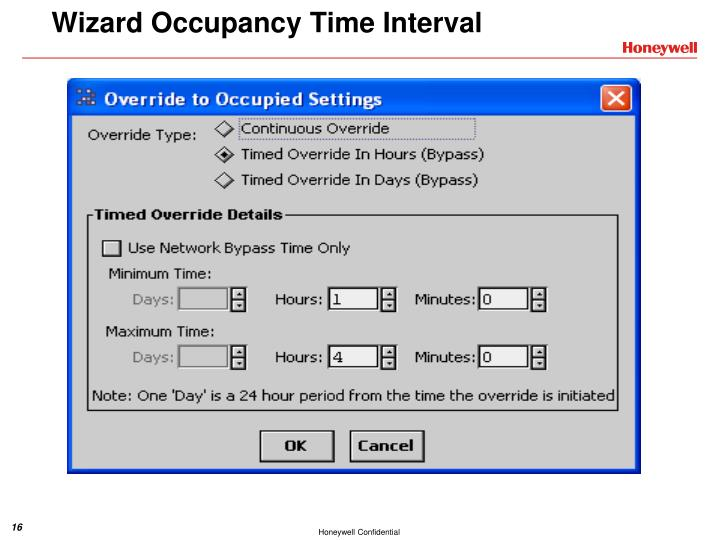Wizard Occupancy Time Interval