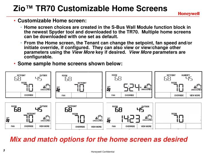 Zio tr70 customizable home screens