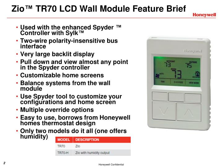 Zio tr70 lcd wall module feature brief