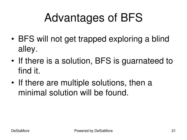 Advantages of BFS