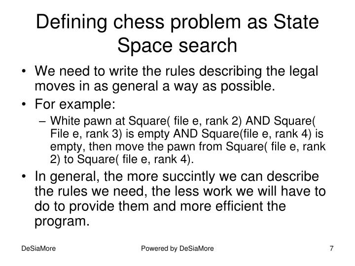 Defining chess problem as State Space search