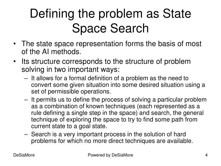 Defining the problem as State Space Search