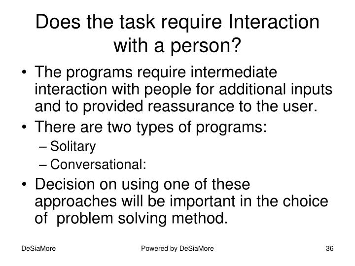 Does the task require Interaction with a person?