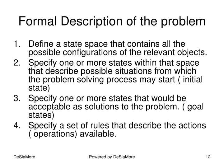 Formal Description of the problem