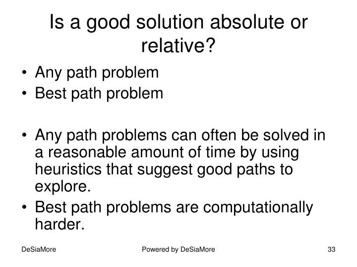 Is a good solution absolute or relative?