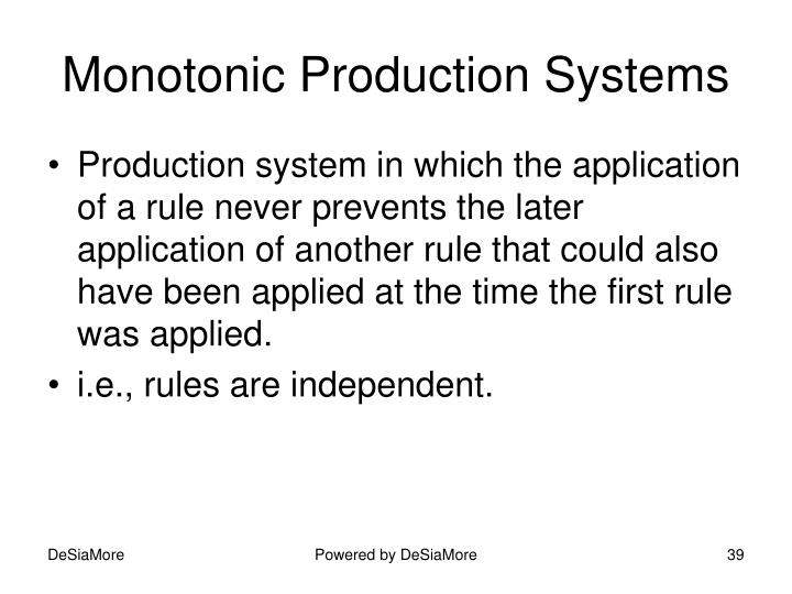 Monotonic Production Systems