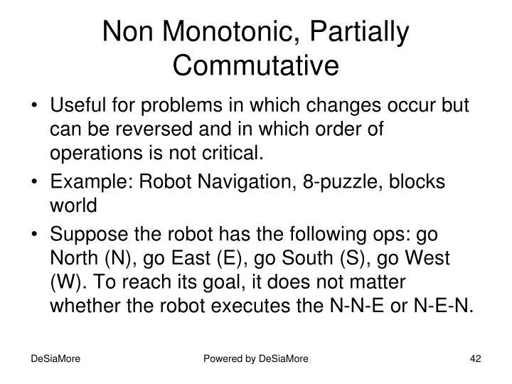 Non Monotonic, Partially Commutative