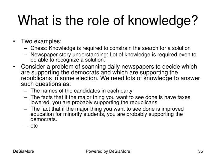 What is the role of knowledge?