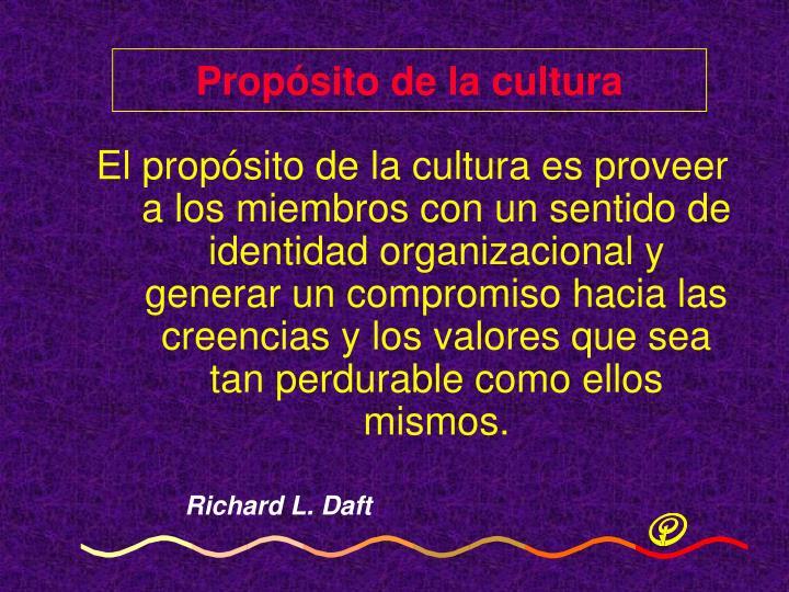 Propósito de la cultura