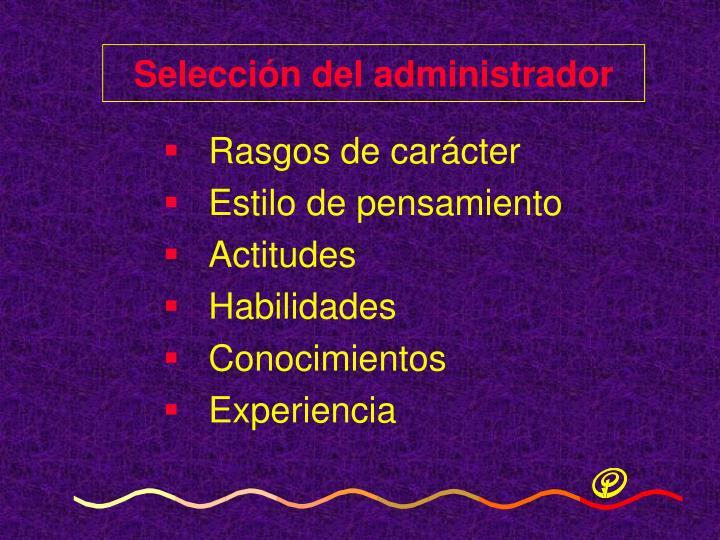 Selección del administrador