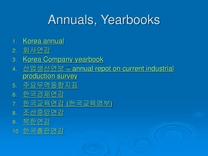 Annuals, Yearbooks