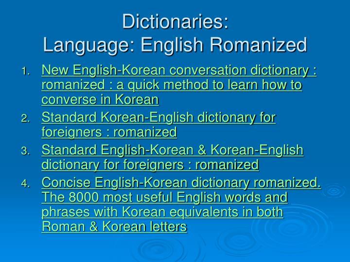 Dictionaries: