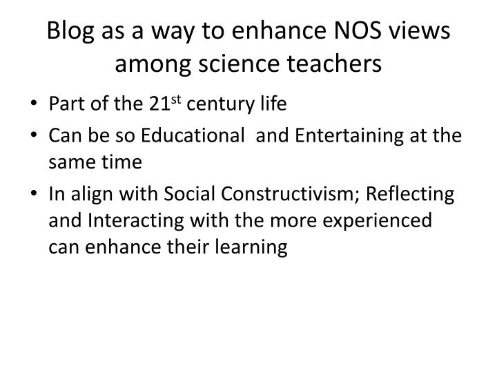 Blog as a way to enhance NOS views among science teachers