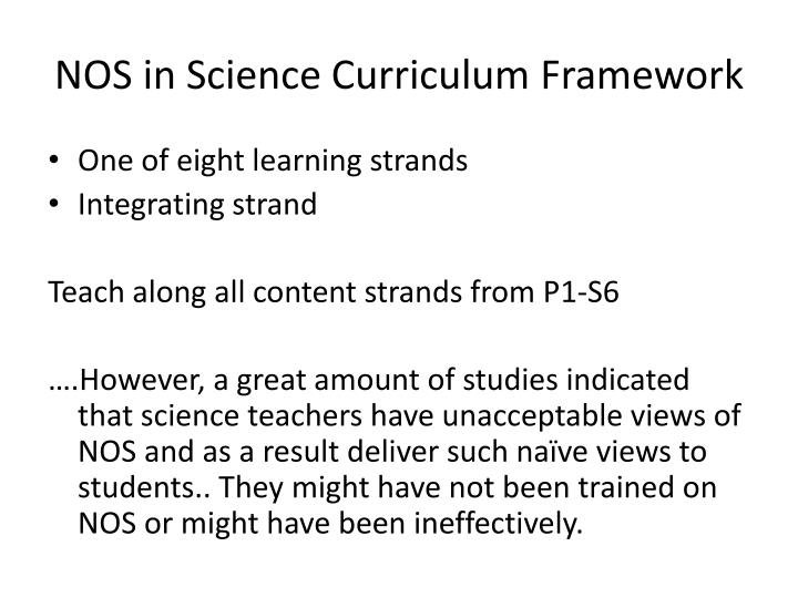NOS in Science Curriculum Framework