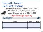 record estimated bad debt expense