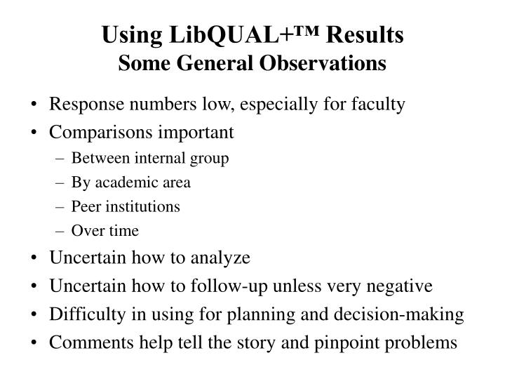Using LibQUAL+™ Results
