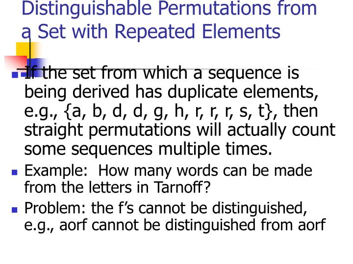 Distinguishable Permutations from a Set with Repeated Elements