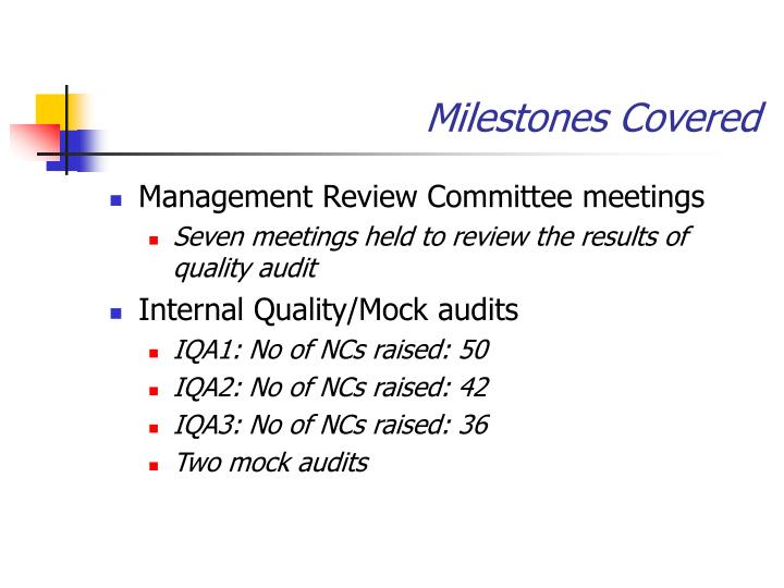 Milestones Covered