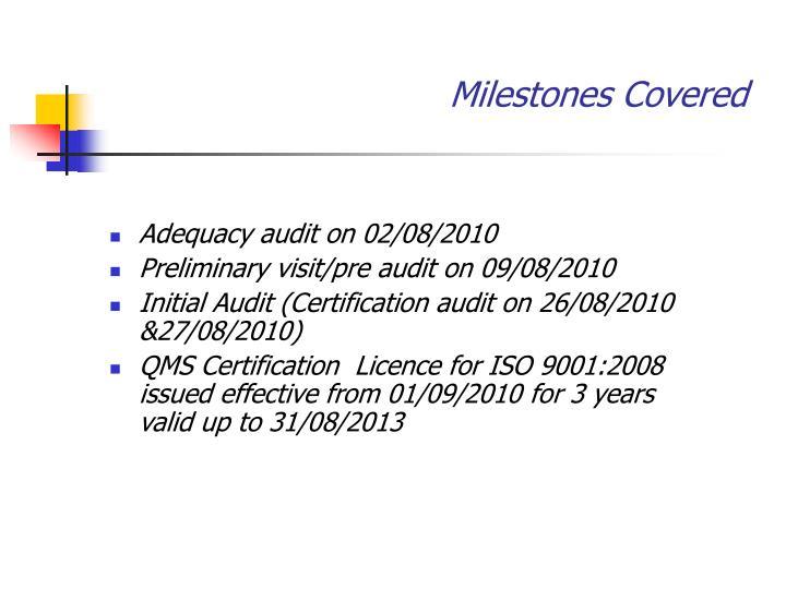 Milestones Covered
