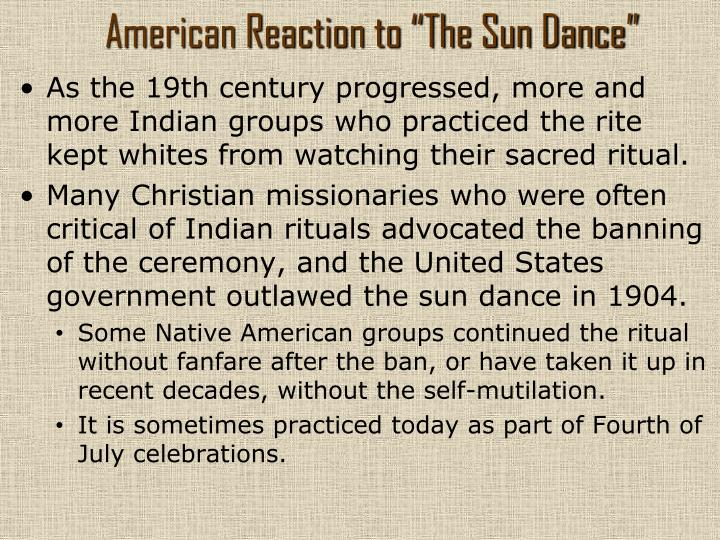 "American Reaction to ""The Sun Dance"""