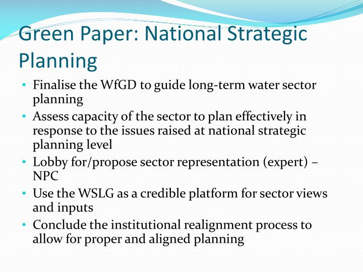 Green Paper: National Strategic Planning
