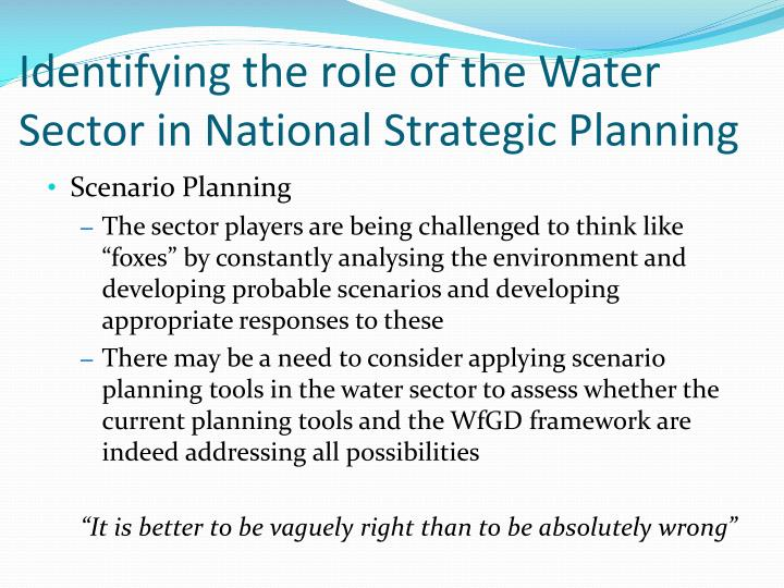 Identifying the role of the water sector in national strategic planning