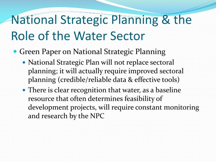 National strategic planning the role of the water sector