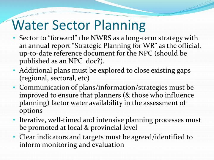 Water Sector Planning
