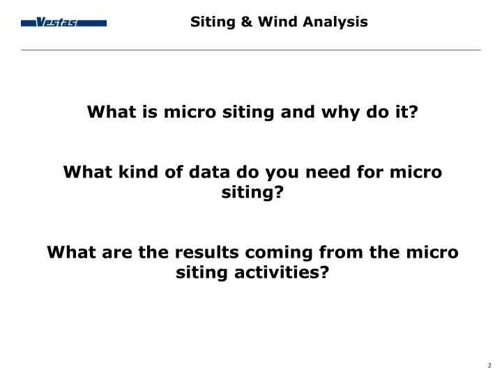 Siting & Wind Analysis