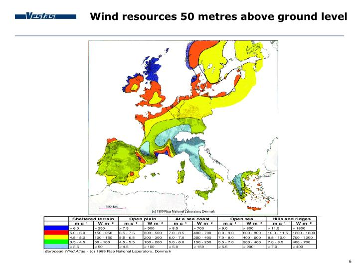 Wind resources 50 metres above ground level