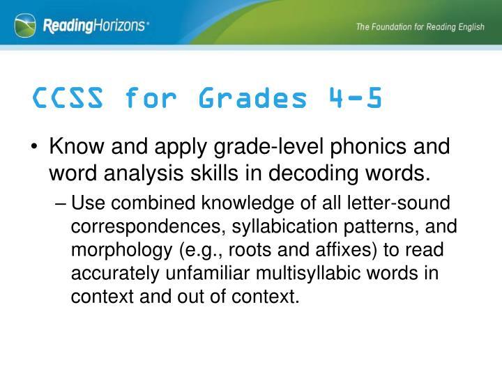CCSS for Grades 4-5
