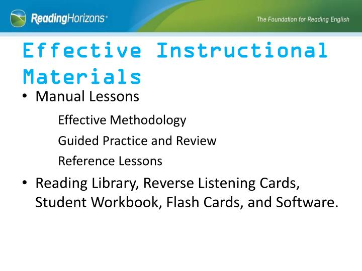 Effective Instructional Materials