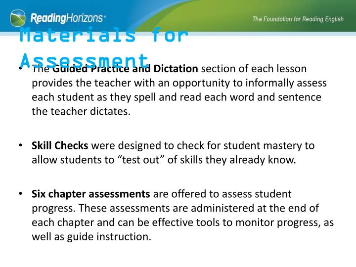 Materials for Assessment