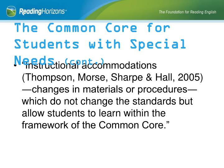 The Common Core for Students with Special Needs