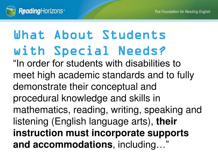 What About Students with Special Needs?