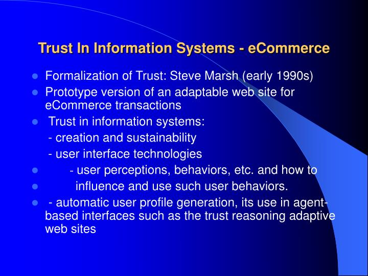 Trust In Information Systems - eCommerce