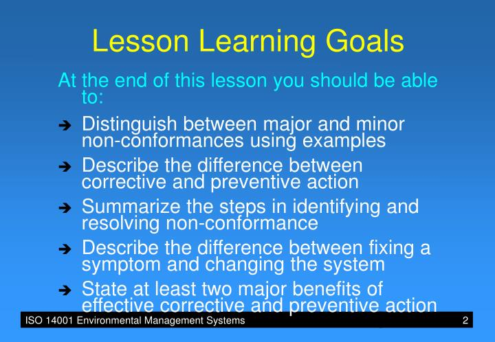 Lesson Learning Goals