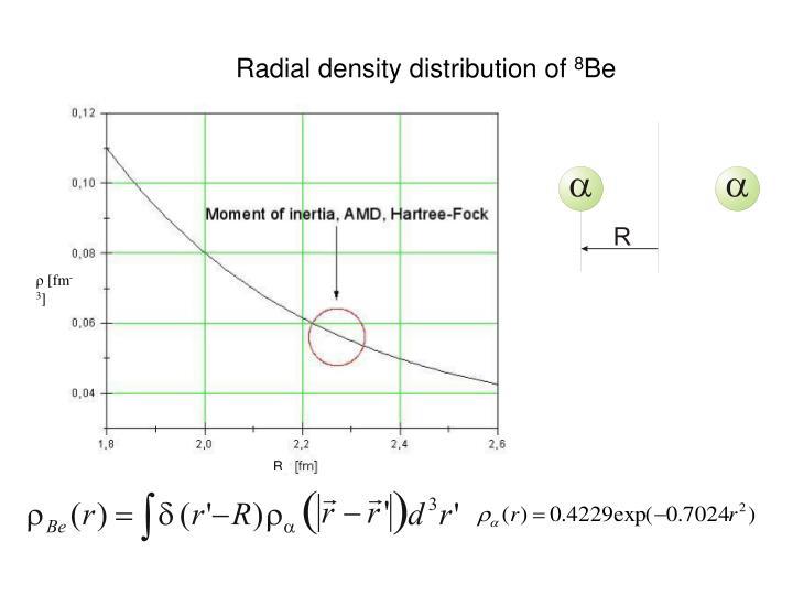 Radial density distribution of