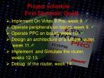 project schedule first semester goals