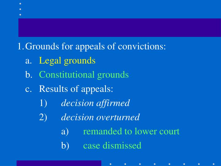 1.Grounds for appeals of convictions: